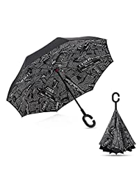 Inverted Rain Umbrella, Folding with C-shaped Hands, for Travelling and Car Use (Black newspapers)