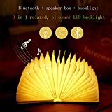 XIAYU Portable Led Folding Book Light with Wireless Bluetooth Audio Colorful Luminous Wooden Book Night Light with Remote Control USB Charger