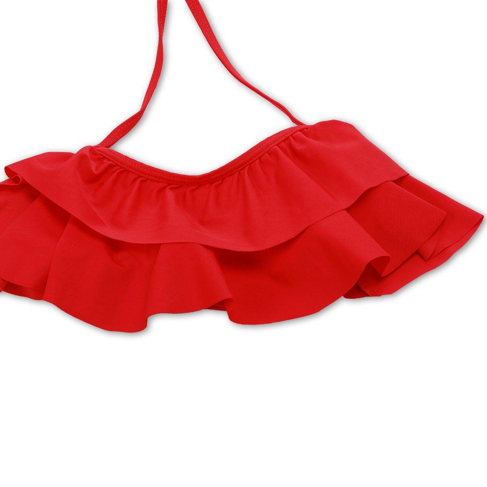 7dafbc2fc3709 Girls Swimsuit Falbala High Waisted Bikini Set Halter Neck Swimwear Dots  Printing Bathing Suits XUNYU larger image