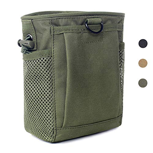 Tactical Molle Drawstring Magazine Dump Pouch, Adjustable Military Utility Belt Fanny Hip Holster Bag Outdoor Ammo Pouch (Army - Tactical Military Holster