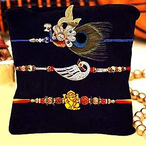 Archies Peacock , Ganesha Rakhi , Roli Chawal, & Greeting Card (Complimentary) for Rakhsha Bandhan
