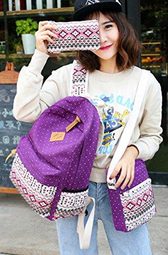 Ghlee - Bolso mochila  de Lona para mujer morado