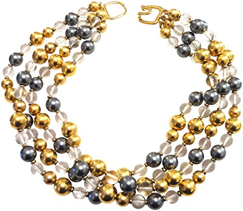 Kenneth Jay Lane Plated Resin Bead Layered Necklace, Multicolor