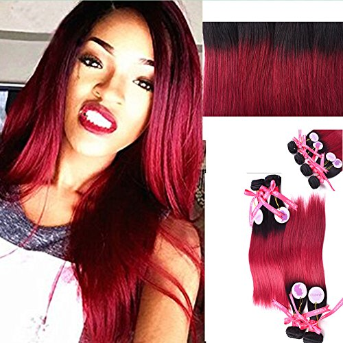 Punzel's 1b/Burgundy 7A Brazilian Human Hair Extensions Body Wave 4 Bundles Multiple Length 12 14 16 18 Inch 95-100g/pc