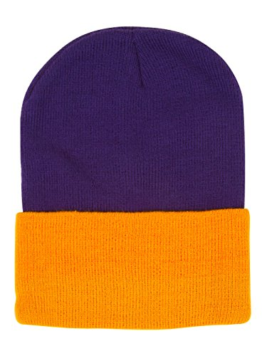 (TOP HEADWEAR Two Tone Cuff Beanie - Purple/Yellow-Gold)