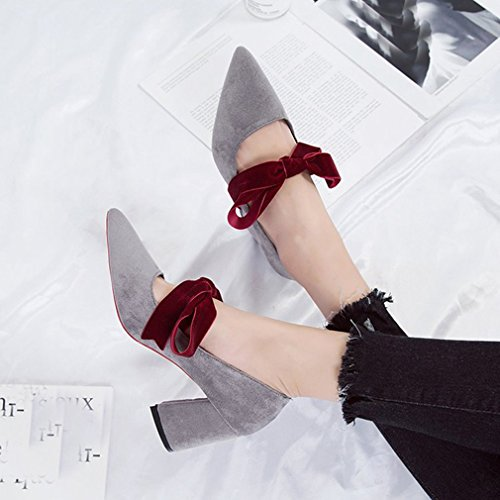 Giy Scarpe Da Donna Classiche Mocassini In Pelle Scamosciata Punta A Punta Slip-on Block Cinturino Con Tacco Fashion Dress Scarpe Fannullone Grigio