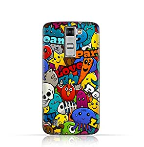 LG K7 TPU Silicone Case with Peace Love & Party Design- Multicolor