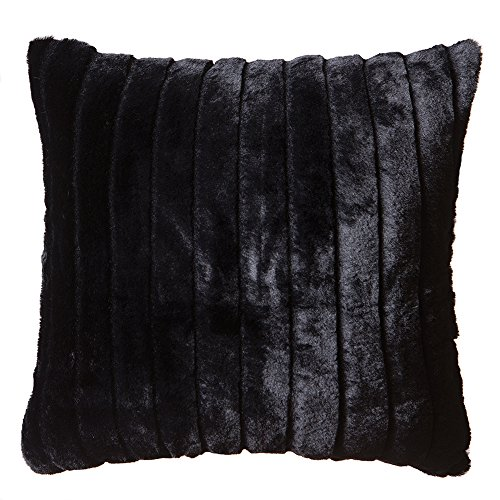 Black Pillow - Faux Fur Throw Pillow 18