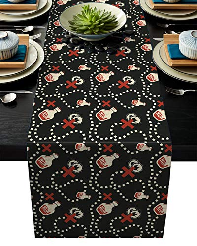 IDOWMAT Linen Burlap Table Runner Dresser Scarves 16 x 72 Inch, Pirate Rum Black and Red Kitchen Table Runners for Farmhouse Dinner, Holiday Parties, Wedding, Events, Decor