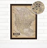 Personalized ''Vintage North America'' Ivory Travel Push Pin Map Art