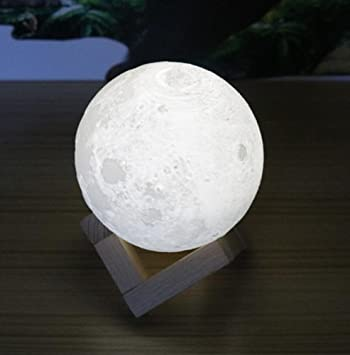Leegor 3D USB LED Colorful Moon Night Light Lunar Lamp Creative Table Desk  Moon Lamp Touch
