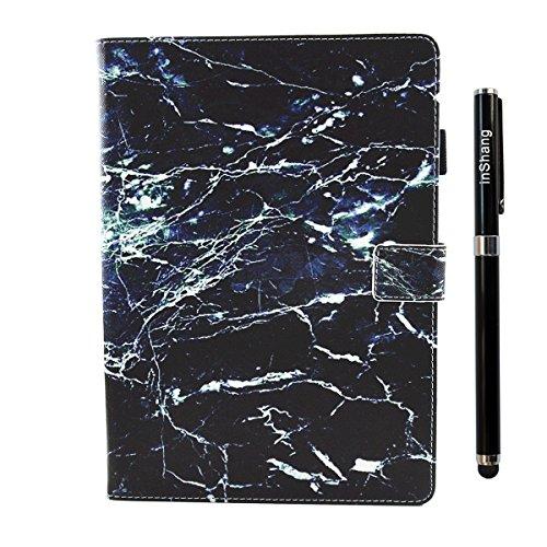 inShang iPad iPad Pro 10.5 Fundas soporte y carcasa para iPad Pro 10.5 inch ((2017 Release) , smart cover PU Funda con Patrón de Diamante + clase alta 2 in 1 inShang marca negocio Stylus pluma Black marble
