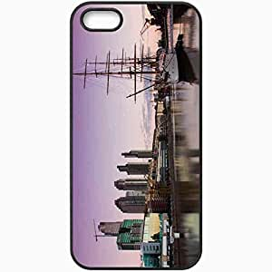 Protective Case Back Cover For iPhone 5 5S Case Evening Building River Sailing Ship Black