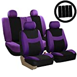 cloth car seat covers purple - FH Group Stylish Cloth (Airbag & Split Ready) Full Set Car Seat Covers Combo-FH2033 Steering Wheel & Seat Belt Pads, Purple/Black- Fit Most Car, Truck, Suv, or Van