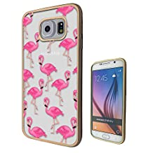c00291 - Cool Cute Fun Flamingo Doodle Collage Kawaii Pink Illustration Pink Birds Design Samsung Galaxy S6 Fashion Trend CASE Gold & Clear Gel Rubber Silicone All Edges Protection Case Cover