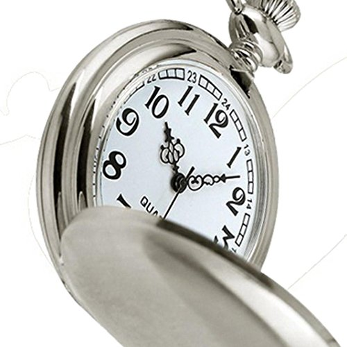 Inkach Smooth Stainless Steel Case White Dial Arabic Numbers Modern Pocket Watch ()