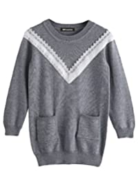 MFrannie Girl False V Neck Knitted Pure Color Casual Pullover Sweater
