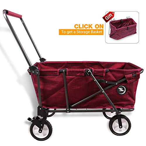REDCAMP Collapsible Utility Cart for Camping, Folding Wagon with Pad All Terrain Perfect for Outdoor Sport, Red by REDCAMP