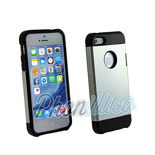 Phonillico® Coque Armor Argent pour Apple iPhone 5 / 5S - Coque Housse Etui Case Protection Extreme Renforcée Armure Double Couche Anti Choc