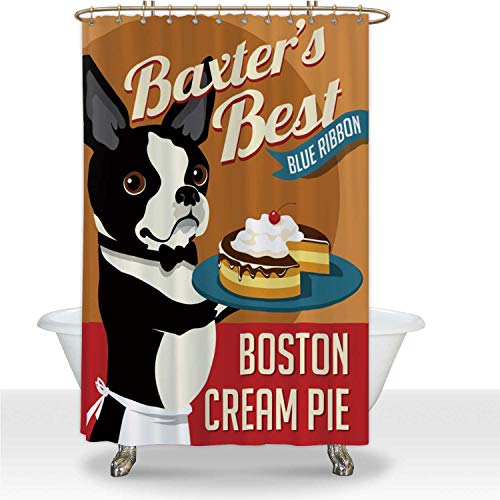 ALUONI Imaginary Poster with Cute Boston Terrier with Boston Cream Pie Polyester...