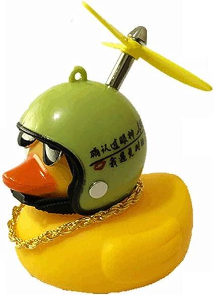 Gummiente Spielzeug Auto Ornamente Gelbe Ente Auto Armaturenbrett Dekorationen Mit Propeller Helm Led Licht Für Autoinnenräume Kinder Fun Toys Spielzeug