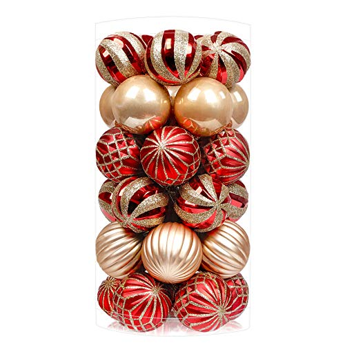 SHareconn 30ct 1.57 Inch Christmas Balls Ornaments Colored Decoration Baubles for Holiday Party Tree Ornaments Hooks Included Shatterproof Balls for Christmas Tree Decoration Red /& Gold, 40mm