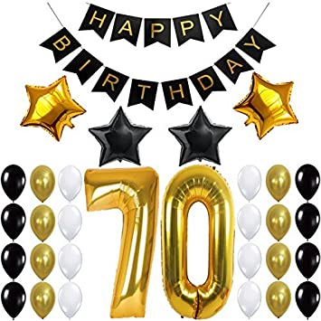 70th Birthday Party Decorations Kit Happy Banner Gold Number BalloonsGold