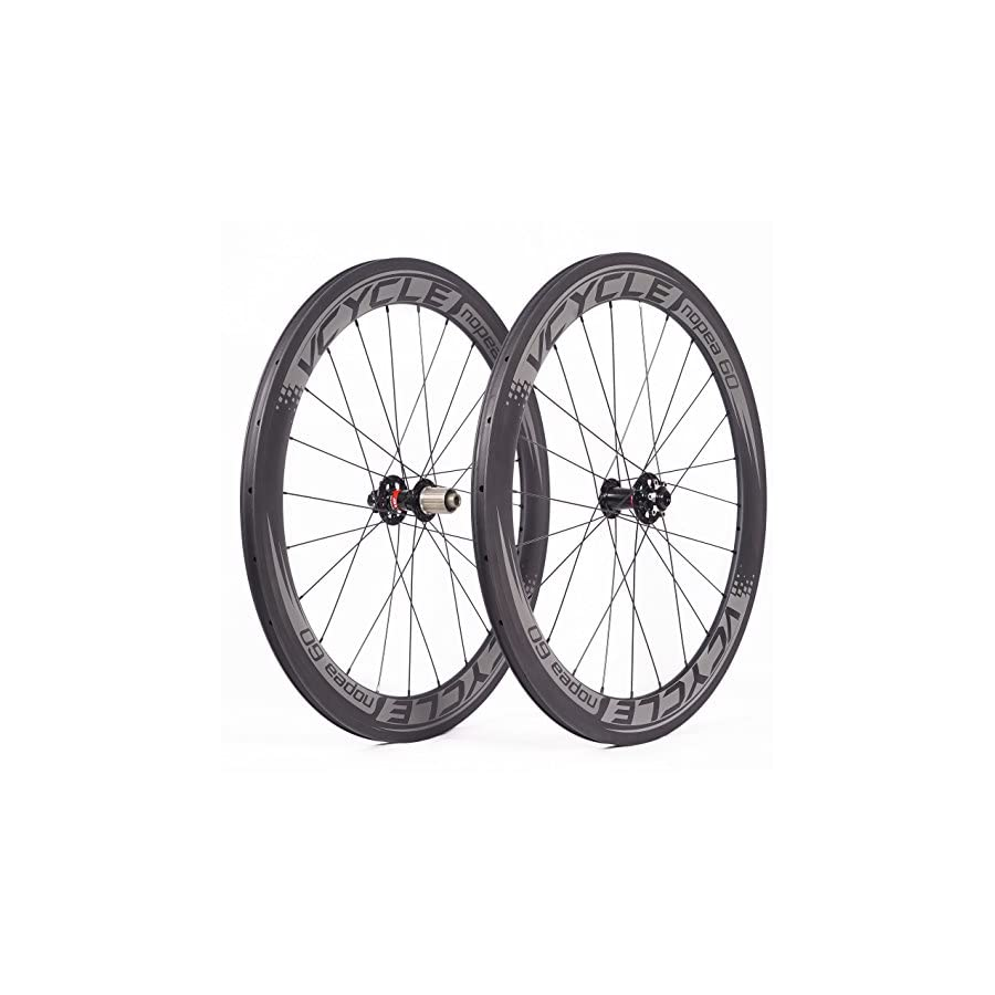 VCYCLE Nopea 700C Carbon Racing Road Bicycle Wheels Clincher 60mm Disc Brake only Used for Quick Release UD Matte
