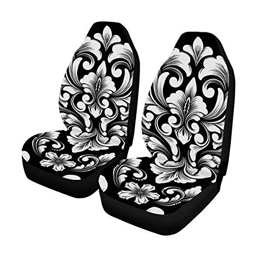 INTERESTPRINT Damask Ornament Pattern Universal Front Seat Covers Protectors for Car, Truck & SUV