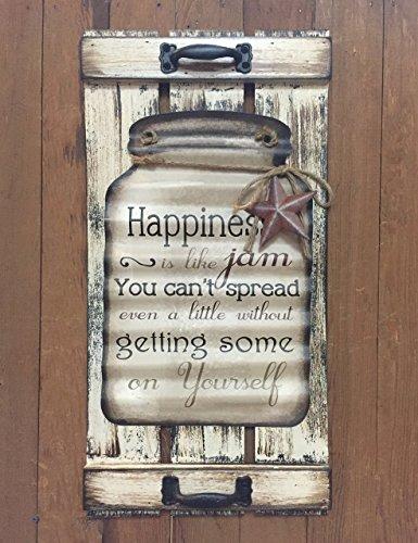 Mason Canning Jar Shutter HAPPINESS is like jam SIGN Distressed Wood Rustic Country Kitchen Tin Wall Homemade Handmade Jelly Decor (Homemade Decor)