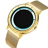 JEDIR Men Women Classic Analog Quartz Watch Fashion Design Dial Gold Case and Milanese Mesh Strap Mineral Lens