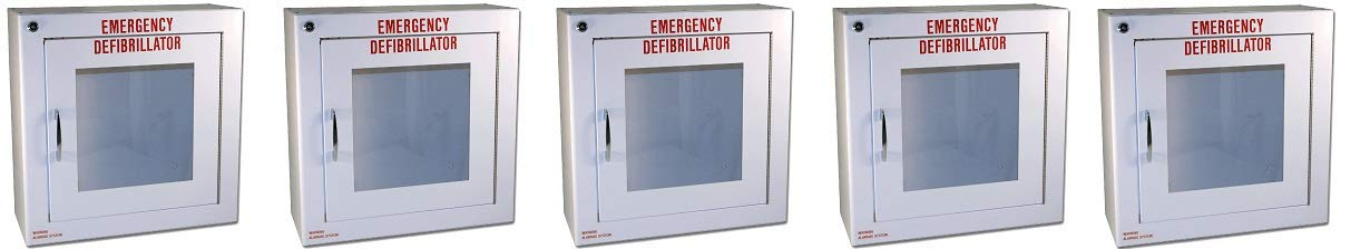 First Voice TS145SM-1 AED Basic Wall Standard Cabinet with Alarm, 13.5'' W x 13'' H x 5.25'' D (5-(Pack))