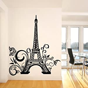 Tall Eiffel Tower Wall Decal Huge Paris City Sticker Decor Wall Sayings  Decal Vinyl Wall Art Words Lettering Quotes Mural Art Room Home(23.6