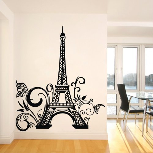 Newsee Decals 60 108cm Modern City Landmark Effile Tower Paris Wall Decals For Girl Lady Boy Kid Office