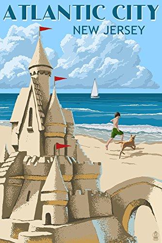 Atlantic City, New Jersey - Sandcastle (12x18 Art Print, Wall Decor Travel Poster) ()