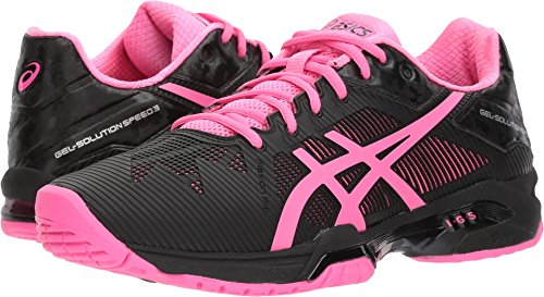 ASICS Womens Gel-Solution Speed 3 Sneaker, Black/Hot Pink/Silver, Size 9.5