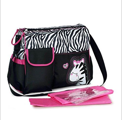 Bolsa Cambiador para bebé motivo Cebra, incluyendo una Estera Cambiadora y una Bolso Transparente para Accesorios