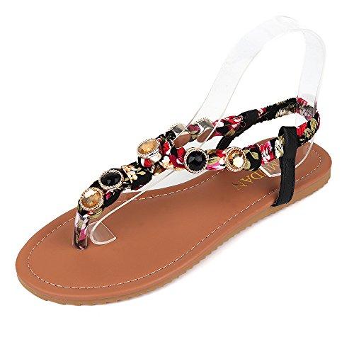 MuDan Women's Elastic String Thong Ankle Strap Gladiator Sandals Casual Wear (10 B (M) US, Black)