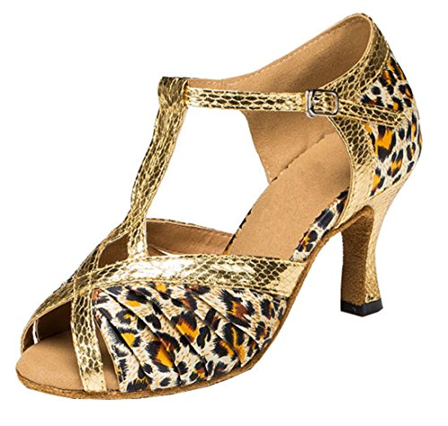 Latin Modern High Toe Ruched TDA T Womens Shoes Leopard Heel Strap Ballroom Peep Brown Dance 4wPqztf