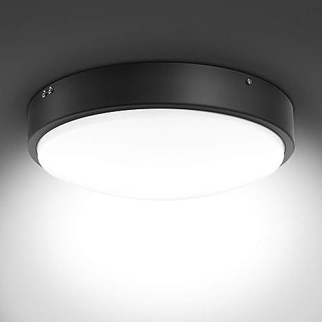 Olafus 32W Lámpara de Techo Moderna de Vidrio Metal Negro, IP44 Impermeable 2800LM CRI 90+, Plafón LED Blanco Frío, Igual a 180W Bombilla ...
