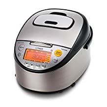 Tiger Corporation JKT-S10U 5.5-Cup Induction Heating Rice Cooker and Warmer with Tacook Plate, Stainless Steel Black