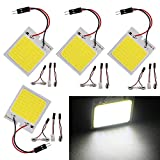 Everbright 4-Pack Super White New Energy-saving COB 48-SMD LED Panel Dome Lamp Auto Car Interior Reading Plate Light Roof Ceiling Interior Wired Lamp With 4× BA9S Adapter,4 × T10 Adapter,4 × Festoon Adapter(31mm-41mm) (DC-12V)
