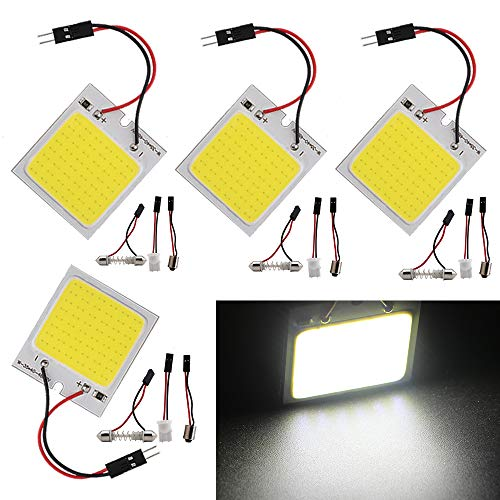 Everbright 4-Pack LED Panel Dome Lamp Super White New Energy-saving COB 48-SMD Auto Car Interior Reading Plate Light Roof Ceiling Interior Wired Lamp With BA9S Adapter,T10 Adapter,Festoon Adapter(31mm