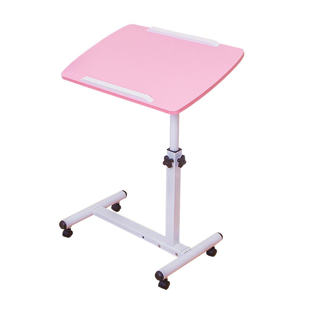 YXX- ウッドベッドルーム折りたたみテーブルデスク、車椅子で調節可能な高さの脚付き小型ポータブルスクエアコンピュータワークステーション (色 : ピンク-2) B07DS9D4CD ピンク-2 ピンク2