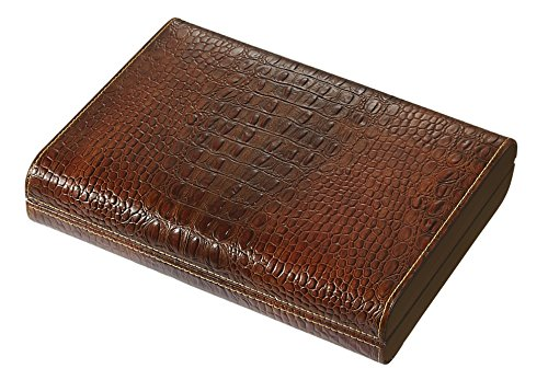 Visol Sobek Brown Leather Desktop Humidor, 10 Cigars Leather Humidor
