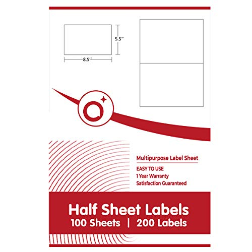 (Half Sheet Shipping Labels Work in Both Laser & Inkjet Printers 5-1/2