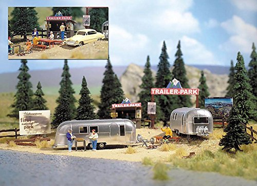(Busch HO Scale Camping Trailer Park w/ 2 Airstream Trailers Model Train Kit 1054)