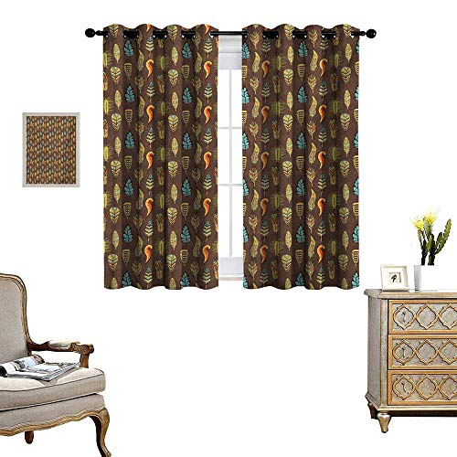 WinfreyDecor Feather Thermal Insulating Blackout Curtain Funky African Aztec Culture Toned Vibrant Feathers Plumage Folk Pattern Patterned Drape for Glass Door W55 x L45 Umber Pale Green Blue