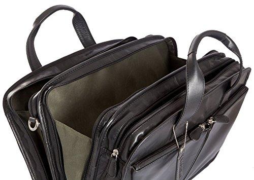 Jensen Leder Vintage Luxus Aktentasche Aus Leder Laptop Dreifach Fach Tasche Schwarz 0mdkiL