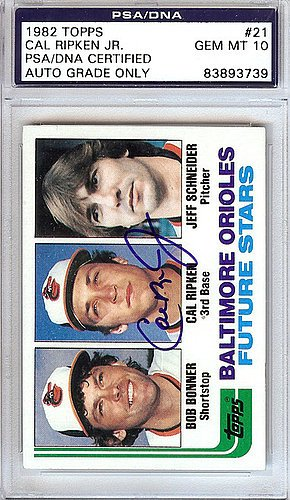 Cal Ripken Jr. Signed 1982 Topps Rookie Card #21 Baltimore Orioles Gem Mint 10 - PSA/DNA Authentication - Autographed MLB Baseball Cards - Cal Ripken Memorabilia